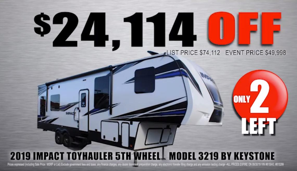 2019 Impact toyhauler 5th wheel