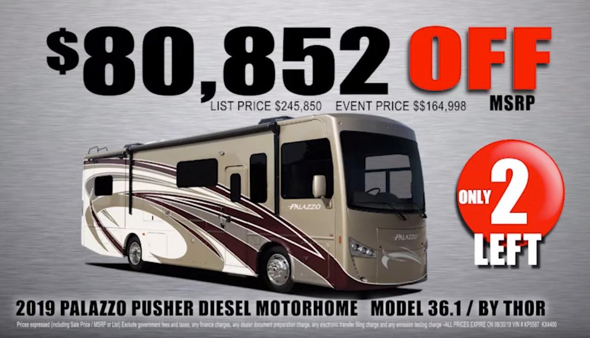 2019 Palazzo pusher diesel motorhome model 36.1
